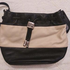 Brighton medium size blue cream leather purse